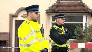 Police near the property