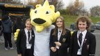 School Reporters with Roary the Lion