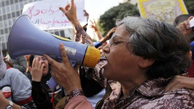 Protesters in Cairo demand quotas for women in the House of Representatives under the draft constitution (13 November 2013)