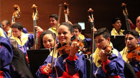 Members of the Caracas Youth Orchestra perform in Tokyo in October 2013
