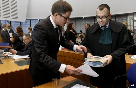 Lawyers Mikolaj Pietrzak, right, and Padraig Hughes, left, in Strasbourg court, 3 Dec 13