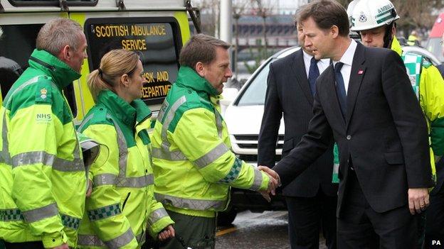 Nick Clegg meets paramedics