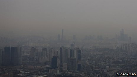 Smog in Seoul on Monday