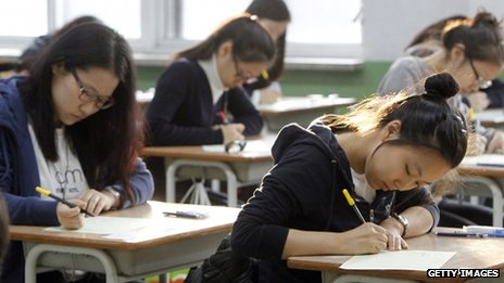 South Korean pupils taking exam