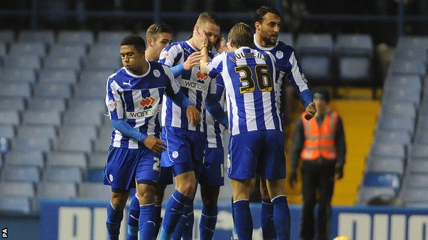 Sheffield Wednesday's Connor Wickham celebrates his first goal