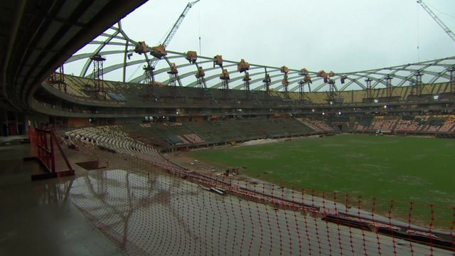 Interior of stadium under construction