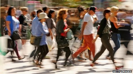 People walking at a shopping street in Australia