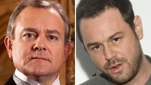 Composite image of Downton Abbey's Hugh Bonneville, left, and Eastenders' Danny Dyer