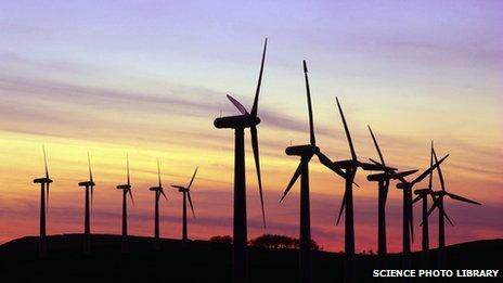 A wind farm at twilight