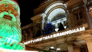 Birmingham City Council House covered in Christmas lights