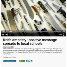 Knife amnesty audio on the BBC website