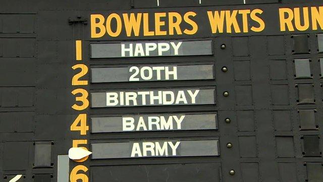 Barmy Army birthday scorecard