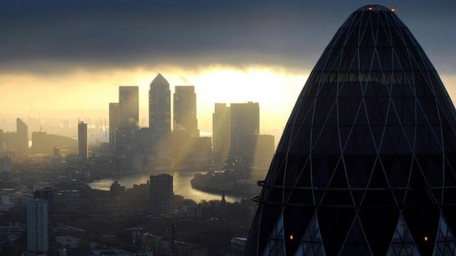 The Gherkin and Canary Wharf