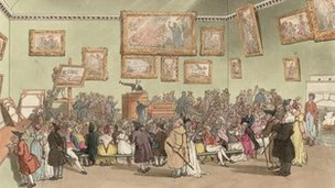 An auction of paintings at Christie's auction rooms