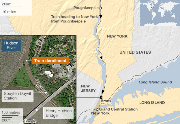Map: Rail accident nr Spuyten Duyvil, New York City