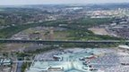 Aerial view of Meadowhall and the M1