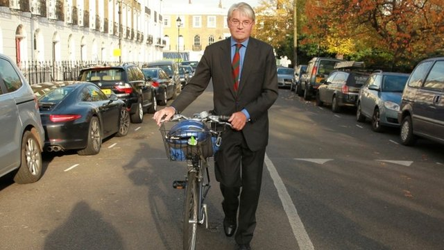 Andrew Mitchell with his bike