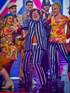 Eddie 'The Eagle' Edwards performing as Austin Powers on Let's Dance For Sport Relief in 2012