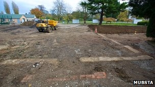 Footings of huts at Bletchley Park