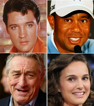 Clockwise from top left: Elvis Presley, Tiger Woods, Natalie Portman, Robert de Niro