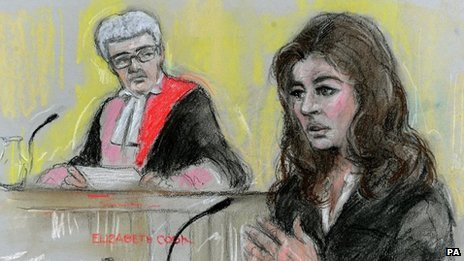 Artist's impression of Nigella in court