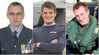 Airmen (from left) Sqd Ldr Samuel Bailey, Flt Lt Hywel Poole and Flt Lt Adam Sanders