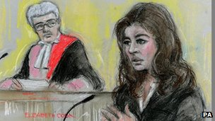 Court artist sketch by Elizabeth Cook of TV cook Nigella Lawson giving evidence at Isleworth Crown Court