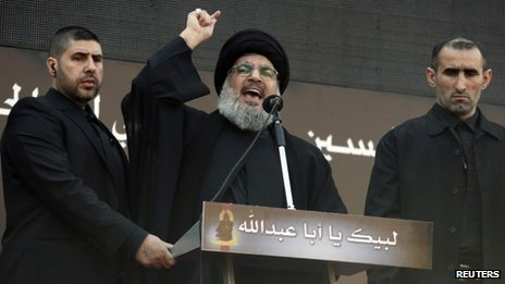 Hassan Nasrallah addresses a rally in Beirut (14 November 2013)