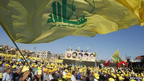 Supporters of Hezbollah at a rally to commemorate the 2006 war with Israel (16 August 2013)