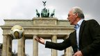 Germany's former World Cup winning captain and coach Franz Beckenbauer at Brandenburg Gate in Berlin
