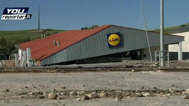 A supermarket sinks into the ground in the town of Montescaglioso