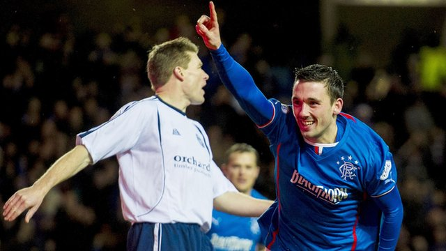 Nicky Clark celebrates after scoring for Rangers against Forfar Athletic