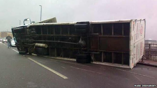 Lorry tipped over