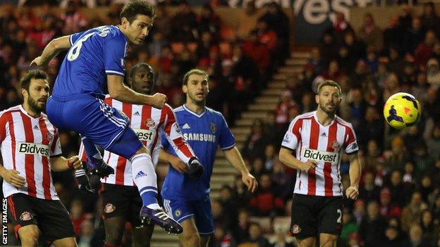 Frank Lampard scores for Chelsea against Sunderland