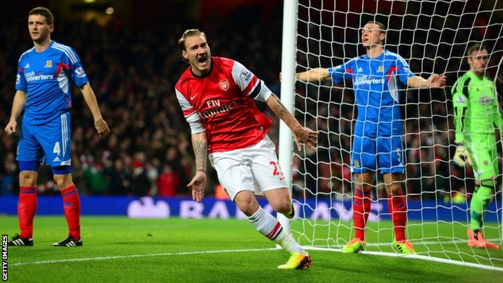 Nicklas Bendtner celebrates scoring for Arsenal