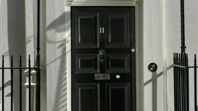 Front door of Number 11 Downing Street