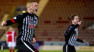 Ryan Thomson celebrates after scoring for Dunfermline against Ayr United