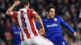 Cardiff's Peter Whittingham has a shot blocked by Erik Pieters