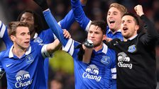 Bryan Oviedo scores against Manchester United for Everton
