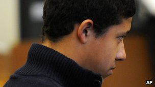 Philip Chism, 14, sits between his lawyers during his arraignment in Salem Superior Court 4 December 2013