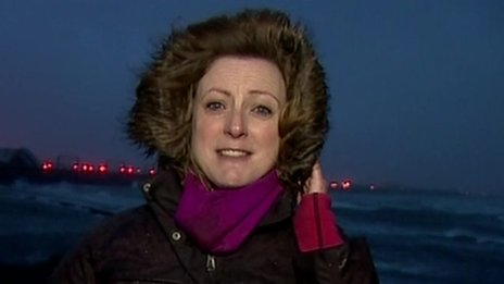 The BBC's Laura Bicker reports from a windy beach