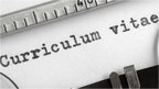 Curriculum vitae written on a typewriter