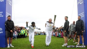 Brendan Foster, right, with Haile Gebrselassie at Great North Run 2012