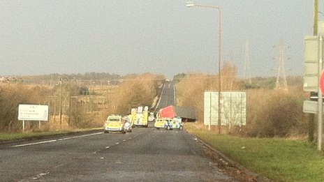 The lorry was blown over on the A801, one mile north of the Boghead Roundabout in Bathgate
