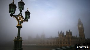 Palace of Westminster seen through fog