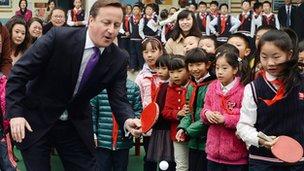 David Cameron at Long Jiang Lu Primary School in Chengdu on 4 December 2013