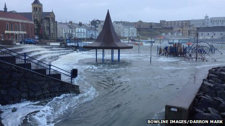 A children's playground in Portstewart flooded with torrents of water