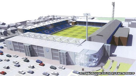 Artist's impression of new London Road stadium, Peterborough