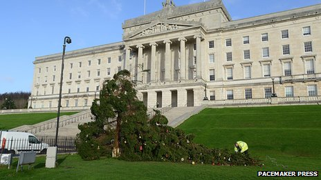 The Christmas tree at Stormont was also damaged by early December's strong winds