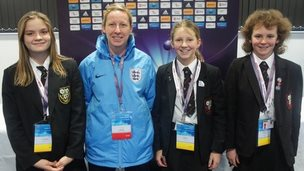 England manager Lois Fidler with School Reporters